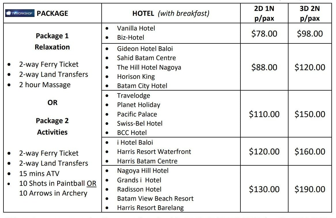 Company Retreat Budget options Batam 2:1 night + 3:2 nights